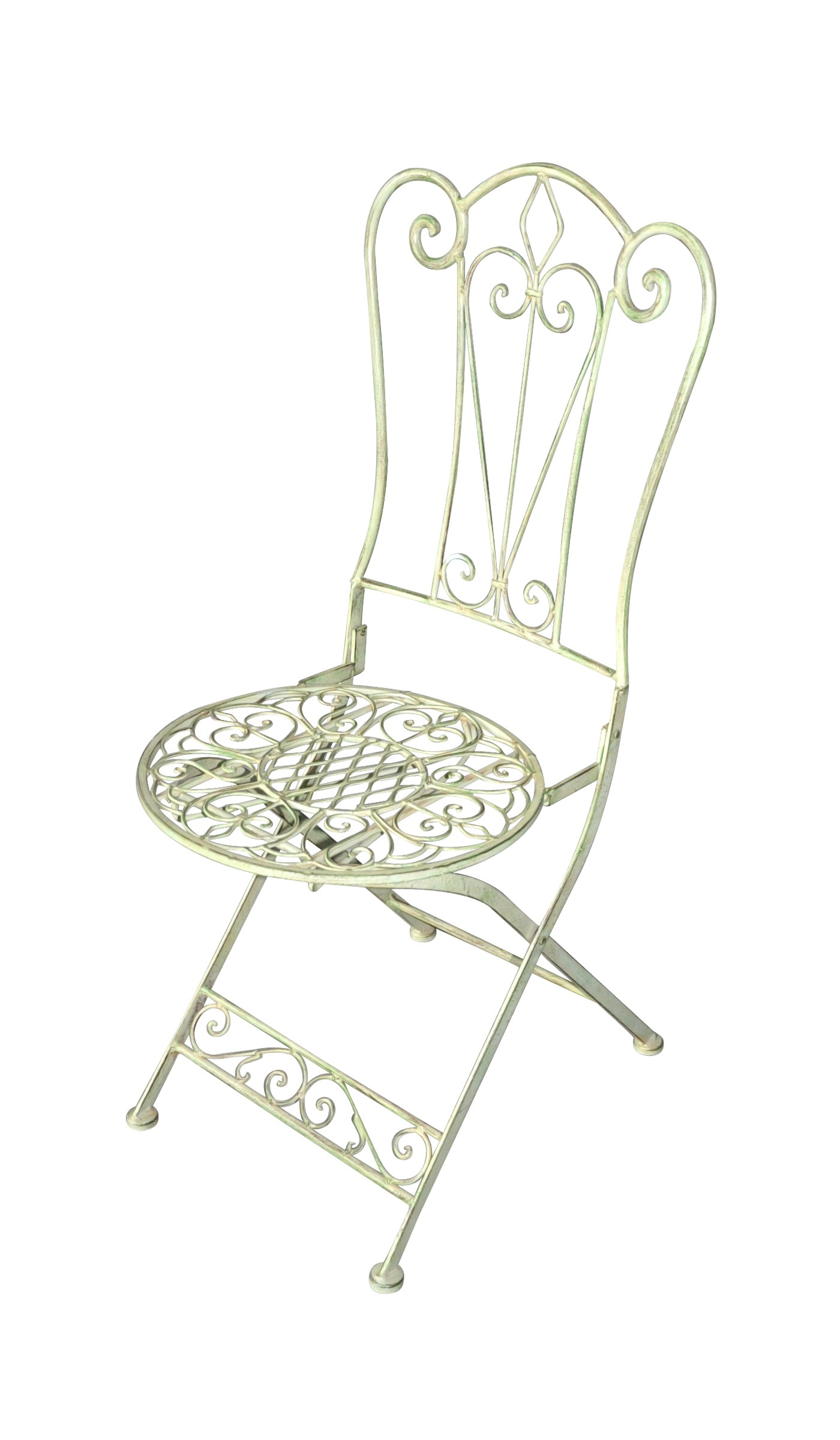 chaise fleur de lys en fer forg vert pale demeure et jardin. Black Bedroom Furniture Sets. Home Design Ideas