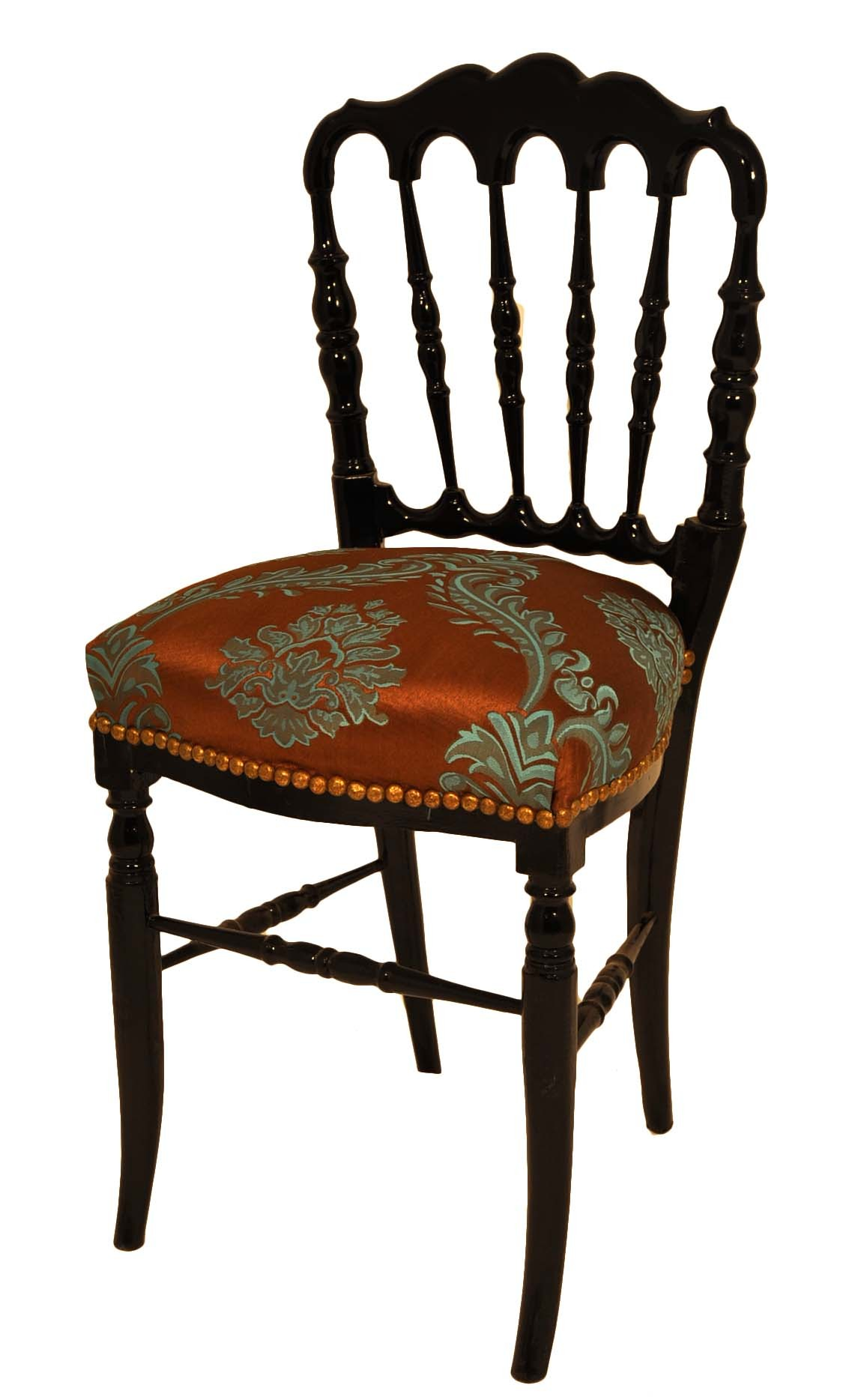 chaise napol on iii avec tissu imprim marron et turquoise demeure et jardin. Black Bedroom Furniture Sets. Home Design Ideas
