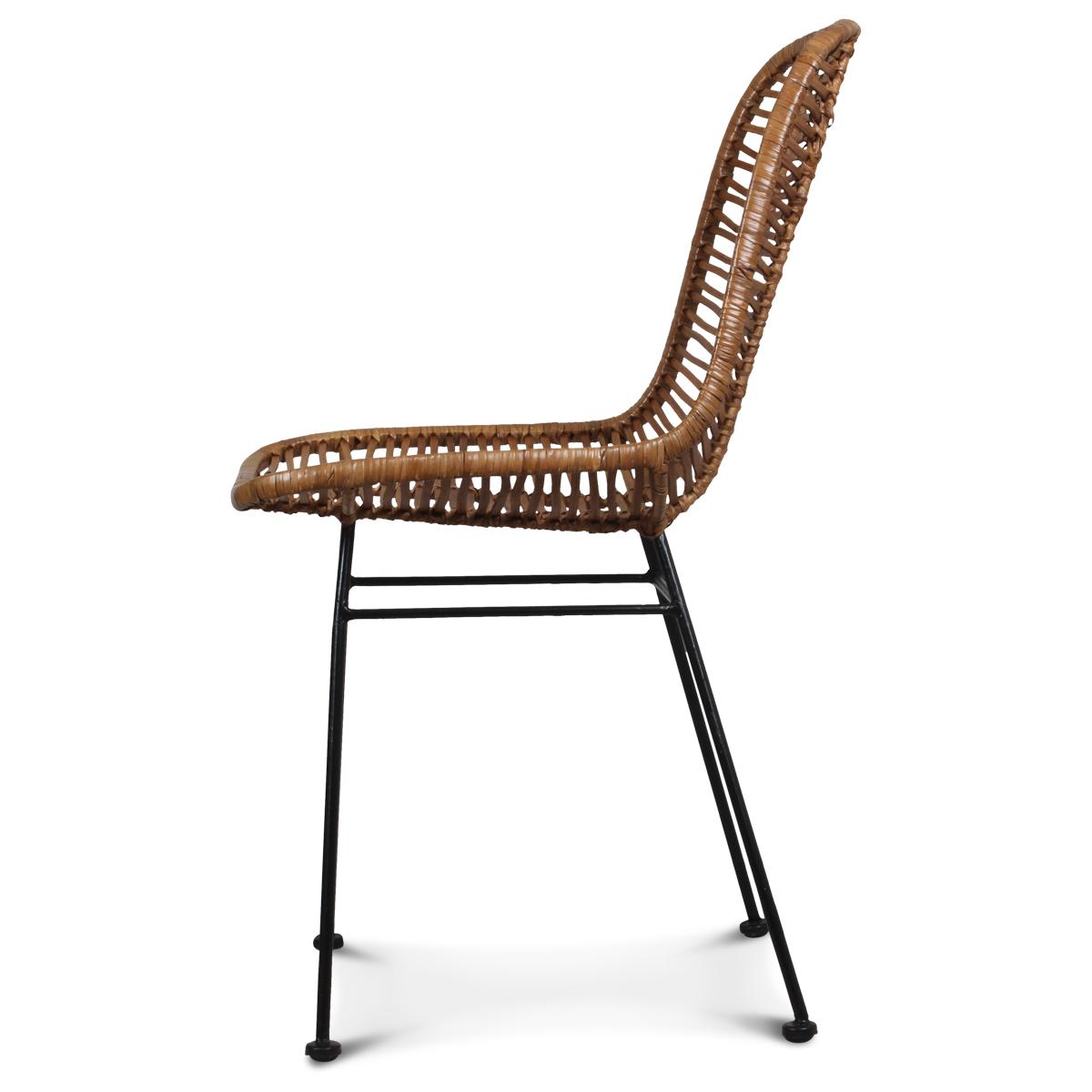 Chaise design metal et rotin MALAKA - Demeure et Jardin