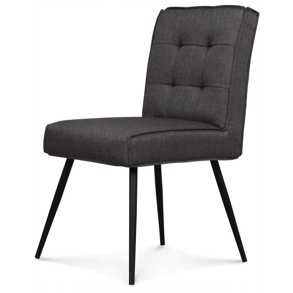 chaise design capitonn carr gris flanelle demeure et