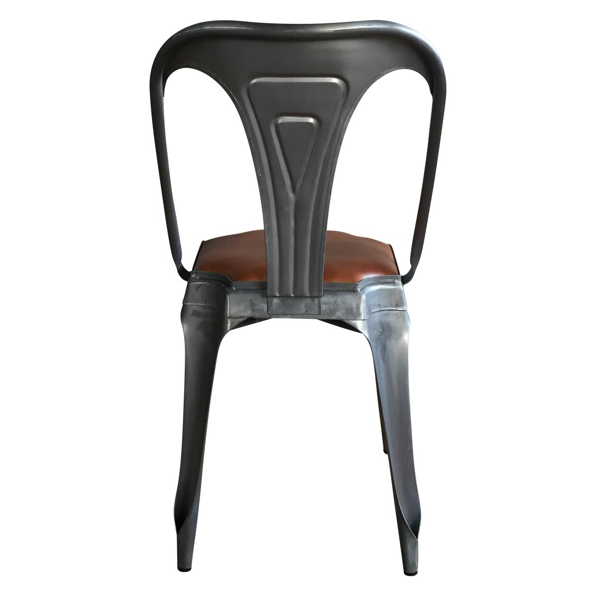 chaise style vintage industriel en m tal et cuir demeure et jardin. Black Bedroom Furniture Sets. Home Design Ideas