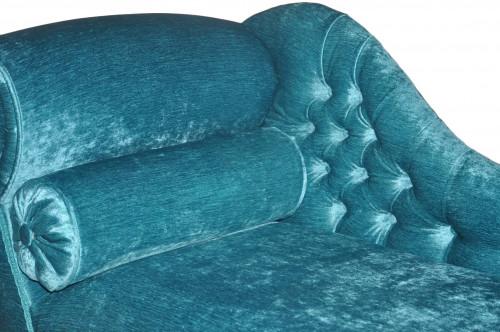 Méridienne Capitonnée velours turquoise