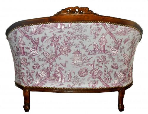 Banquette Loveuse Toile de Jouy violette sur fond parme