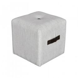 Pouf carré lin ivoire