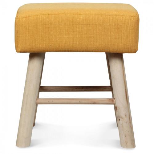 petit tabouret rectangulaire en bois jaune moutarde style. Black Bedroom Furniture Sets. Home Design Ideas