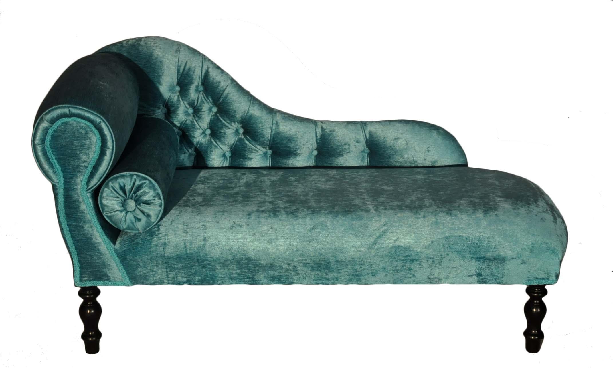 M ridienne capitonn e velours turquoise demeure et jardin - Meridienne velours ...
