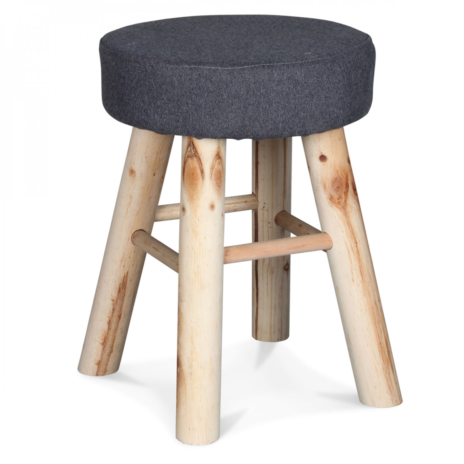 petit tabouret rond gris flanelle pieds en bois demeure. Black Bedroom Furniture Sets. Home Design Ideas