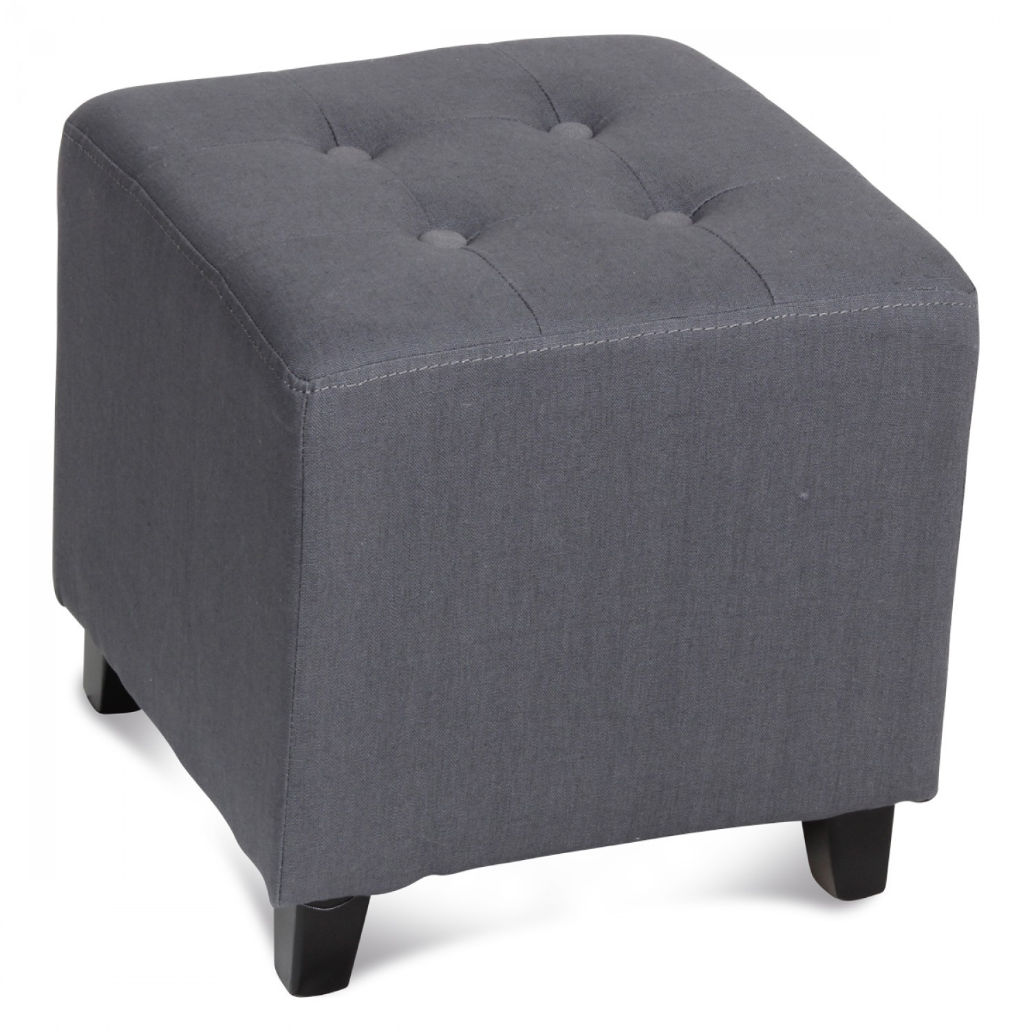 pouf carr capitonn gris demeure et jardin. Black Bedroom Furniture Sets. Home Design Ideas