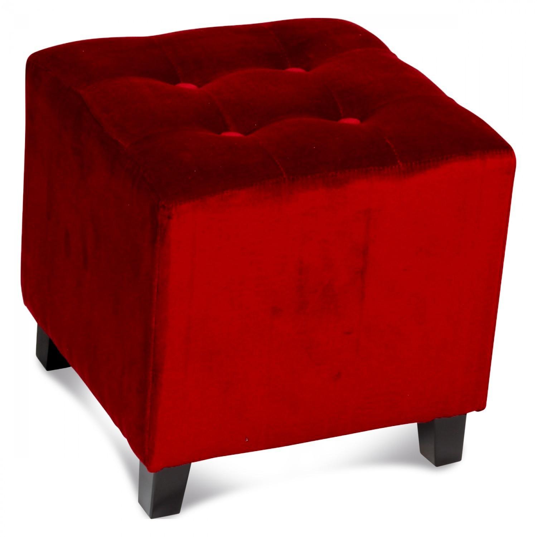 pouf carr capitonn en velours rouge demeure et jardin. Black Bedroom Furniture Sets. Home Design Ideas