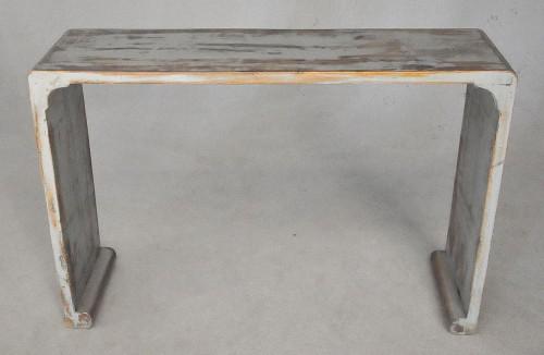 Console patine lazuré grise