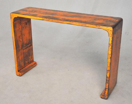 Console bois design orange patine