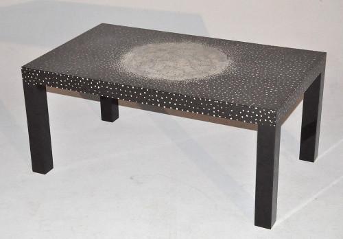 Table basse rectangulaire laque noire et coquille d 39 oeuf demeure et jardin - Table basse rectangulaire noire ...