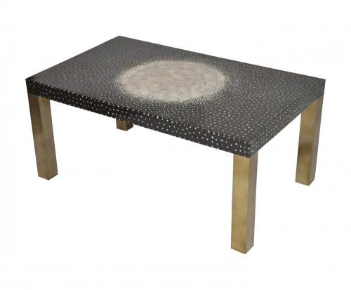 Table Basse design laque noire et bronze