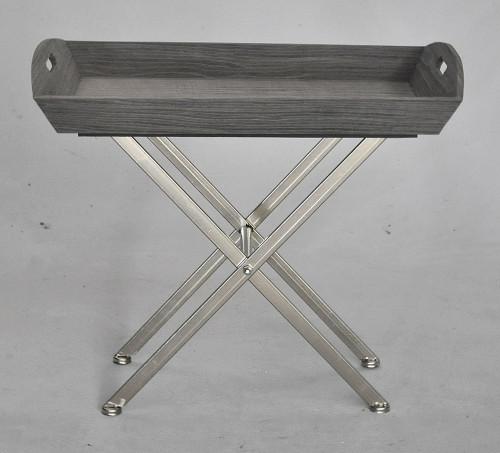 Petite Table d'appoint bois gris piètement inox