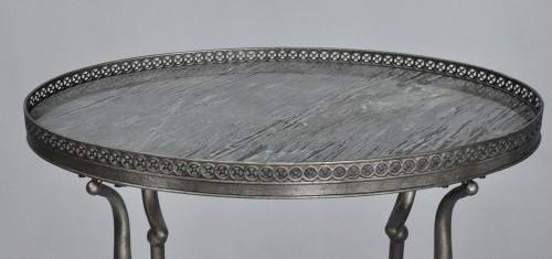 Gueridon argent rond avec marbre gris