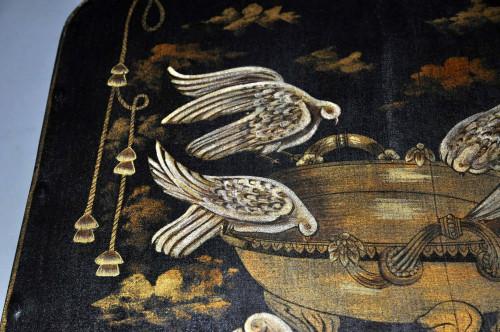 Table basse en tole peinte et Colombes