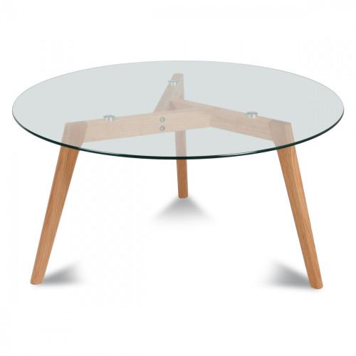 Table ronde plateau de verre style design demeure et jardin - Plateau verre pour table ronde ...