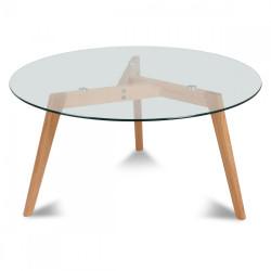 Table Ronde plateau de verre style design