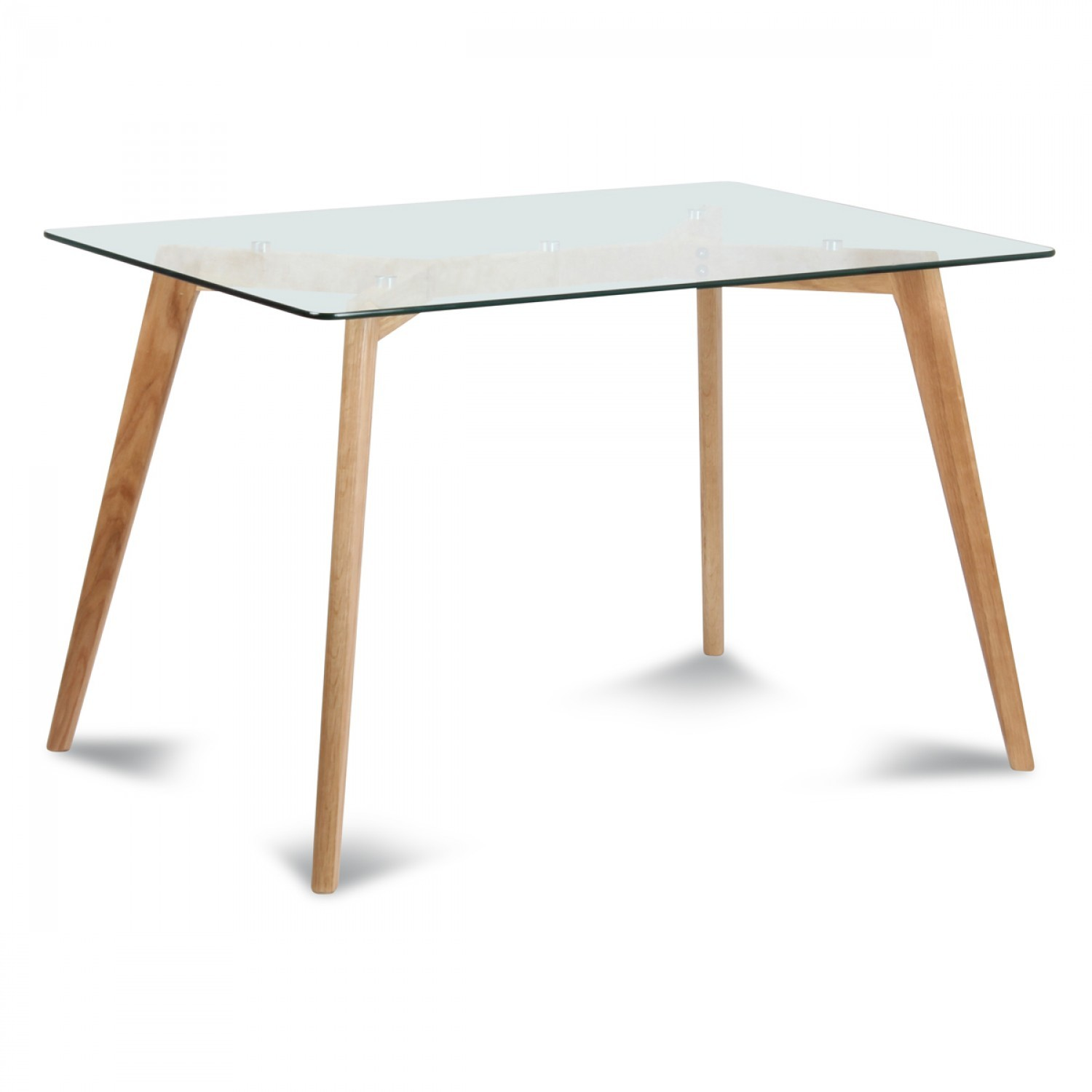 Table rectangulaire plateau de verre style scandinave for Table de salle a manger 6 personnes
