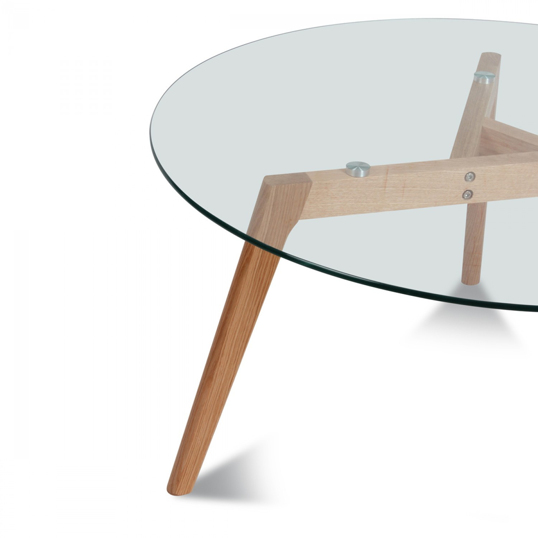 Table ronde plateau de verre style design demeure et jardin - Table ronde verre bois ...