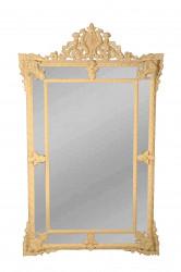 Magnifique Miroir à Pareclose Patine Ivoire - 102 x 183 cm