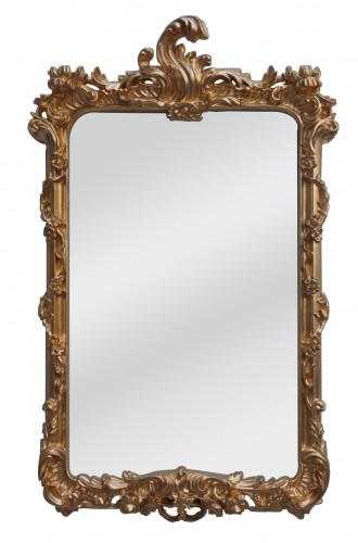 Miroir Baroque dore gothique doré à coquille - 65 x 105 cm