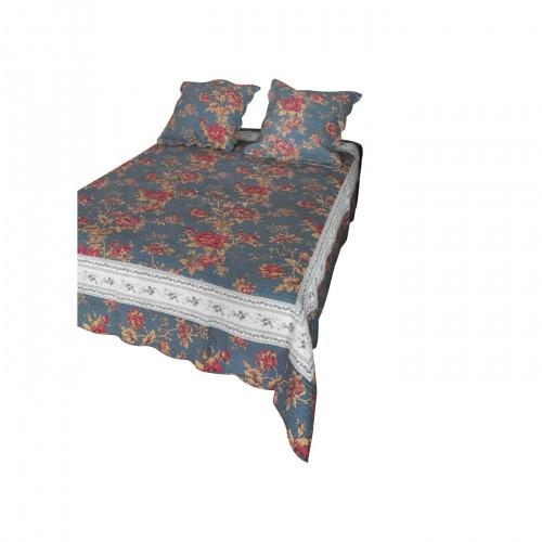 boutis couvre lit 2 personnes bleu petrole demeure et jardin. Black Bedroom Furniture Sets. Home Design Ideas