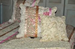 Housse de coussin imprimé Fleurs avec ruban